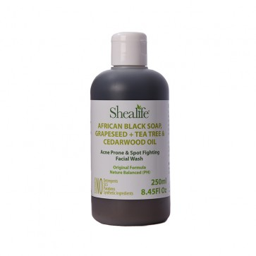 African Black Soap, GRAPESEED + TEA TREE & CEDARWOOD OIL. Acne Prone & Spot Fighting Facial Wash Formula, 250ml