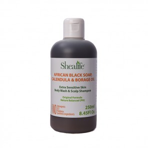 African Black Soap, CALENDULA & BORAGE OIL. Extra Sensitive & Delicate Skin Body Wash & Shampoo Formula, 250ml